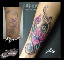 Bukaa tattoo Lublin, cover up, kwiaty rózowe tatuaż