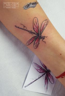 lublin tattoo, tatuaz lublin, tattoo lublin, dragonflly tattoo, watercolor tattoo