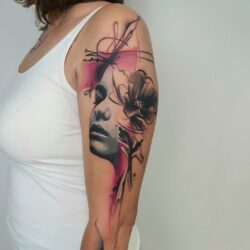 lublin tattoo, tattoo, tatuaza, tatuaż lublin, abstract tattoo, abstrakcja, face tattoo, realistic tattoo, tat, tatoo, tatto, pink and black tattoo, poland tattoo, abstraction, monika okinam, bukaa tattoo