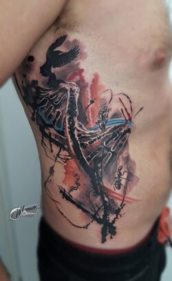 lublin tattoo, tattoo, tatuaza, tatuaż lublin, abstract tattoo, abstrakcja, face tattoo, realistic tattoo, tat, tatoo, tatto, pink and black tattoo, poland tattoo, abstraction, monika okinam, bukaa tattoo, trashpolka, trashpolka tattoo